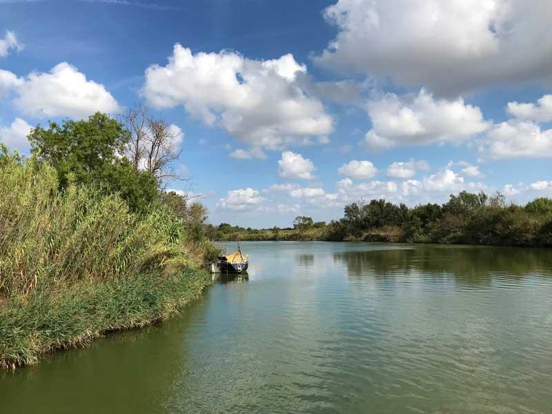 Der Canal du Rhône à Sète führt durch das Sumpfgebiet der Camargue