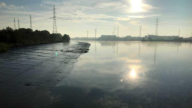 Die Schelde bei niedrigem Wasserstand