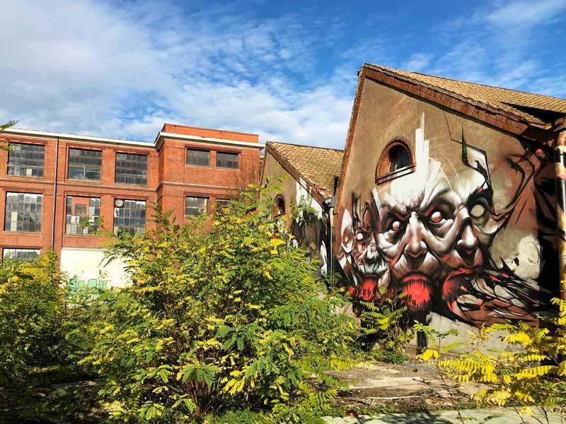 Die Grafitti auf den leerstehenden Gebäuden auf dem DMC Gelände sind teilweise sehr kunstvoll