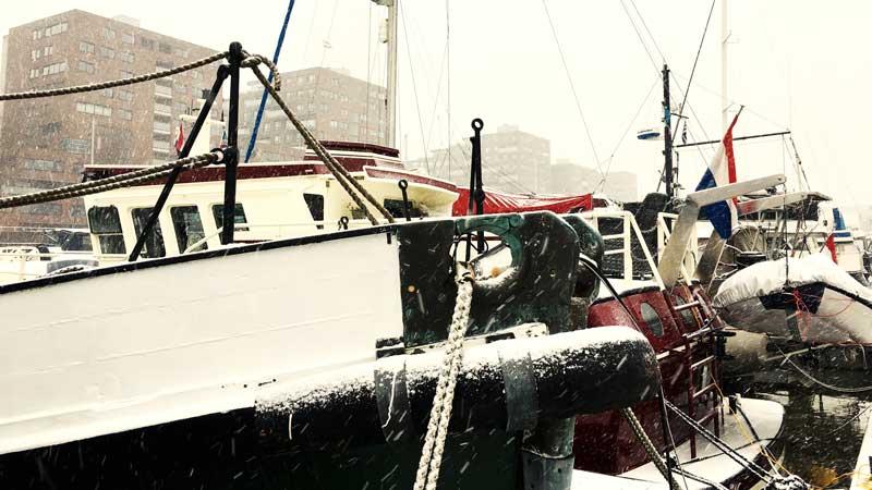 Schnee im Hafen
