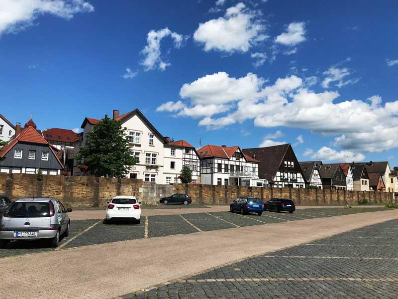 Die Fischerstadt an der Weser in Minden besteht zu einem großen Teil aus alten Fachwerkhäusern