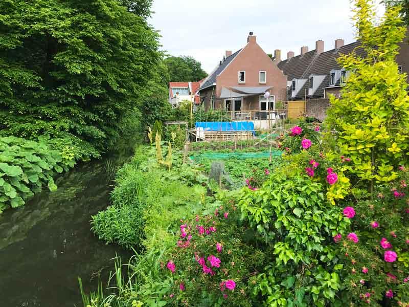 Üppige Gärten mit bunten Blumen am Schlosspark von Wijk bij Duurstede