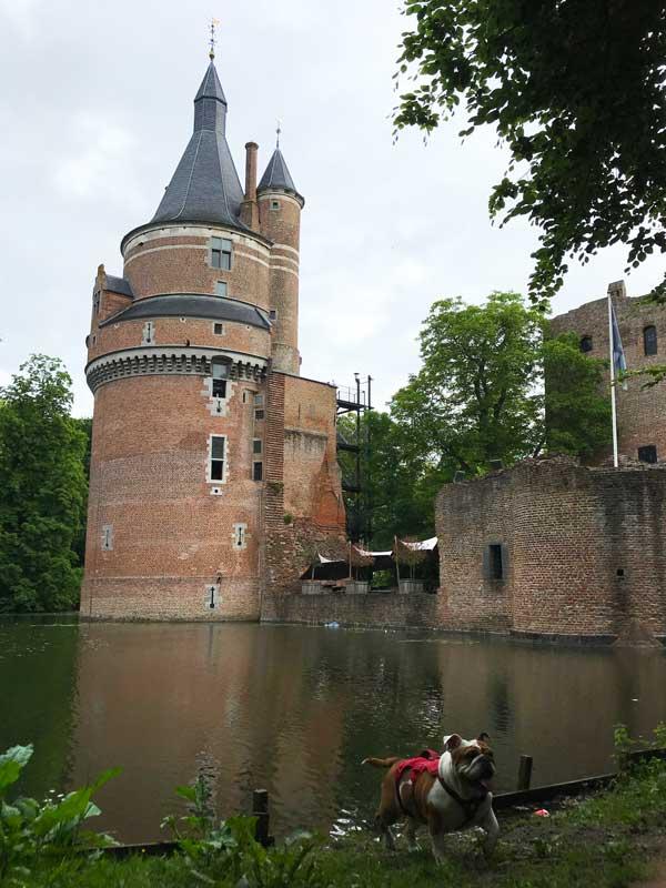 Lisbeth kann vor dem Wasserschloss von Wijk bij Duurstede baden