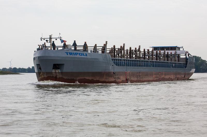Es kommt uns ein leeres Containerschiff, die TRIPOLI, entgegen