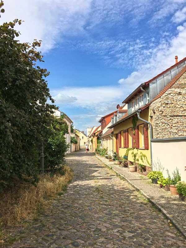 Dorfstraße in Werder Havel mit Kopfsteinpflaster und viel Grün