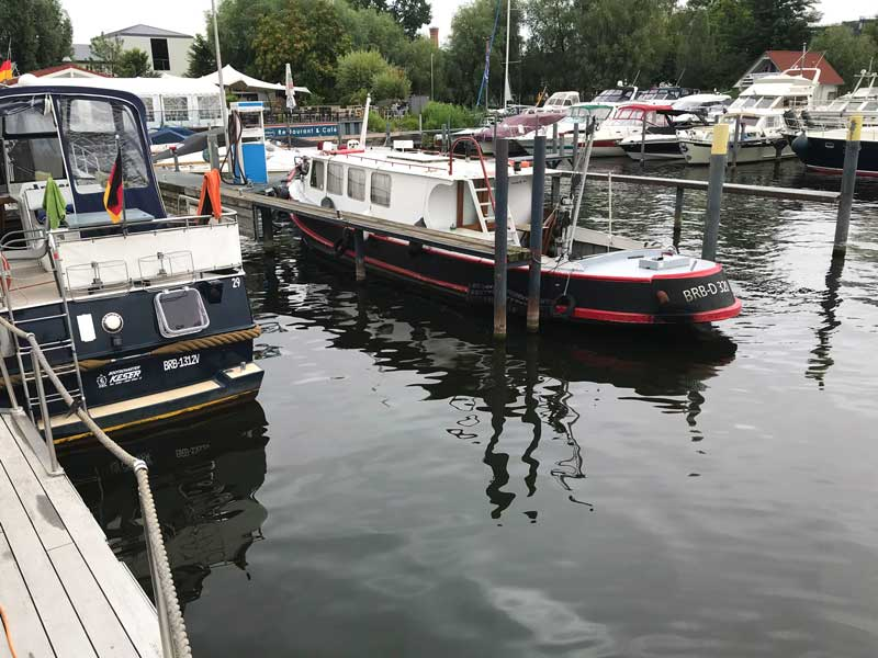 Die Stege in der Marina am Tiefen See in Potsdam sind so weit über dem Wasserspiegel, dass der Hund dort nicht hinaufkommt