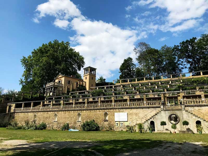 Terrassen des Weinbergs mit Haus beim Schloss Sanssouci von Friedrich dem Großen in Potsdam