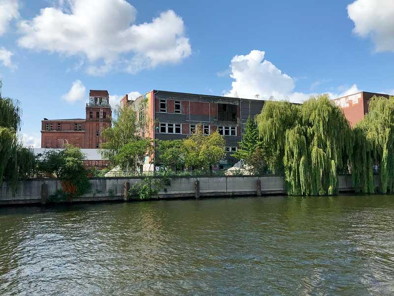 Ruine einer großen alten Fabrik mit Graffiti am Ufer der Spree bei Niederschöneweide in Berlin, davor große Trauerweiden, der Äste ins Wasser hängen