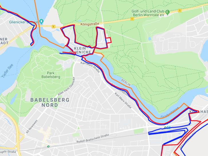 Karte des ehemaligen innerdeutschen Grenzverlaufs im Bereich Griebnitzsee, Babelsberg Potsdam und Klein Glienicke
