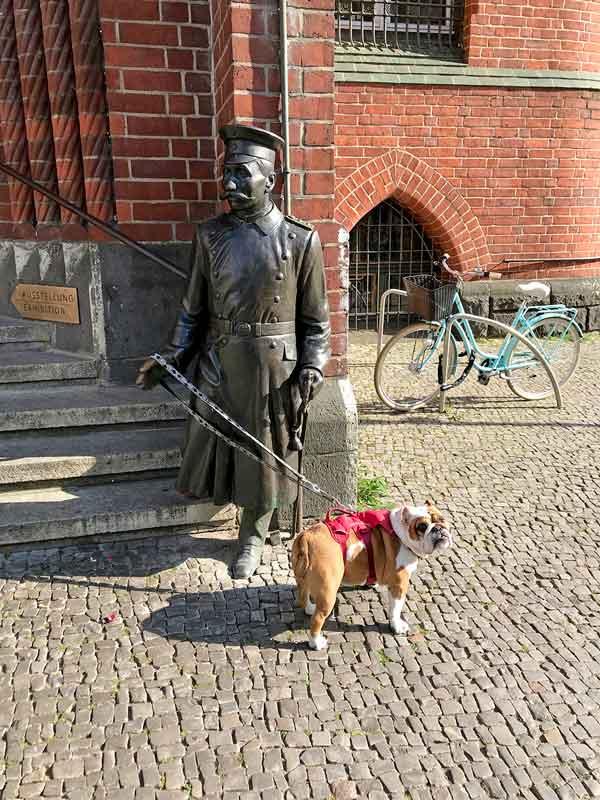 Die englische Bulldogge ist mit einer Hundeleine am Arm der Statue des Hauptmann von Köpenick vor dem Rathaus festgemacht und schaut in die Kamera - Köpenick bei Berlin