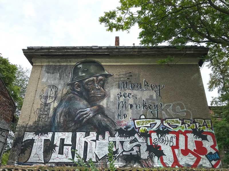 """Eindrucksvolles großformatiges Graffiti eines Schimpansen mit Helm auf einer Hauswand im Stadtteil Treptow in Berlin. Die Aufschrift lautet """"Monkey see, monkey do."""""""