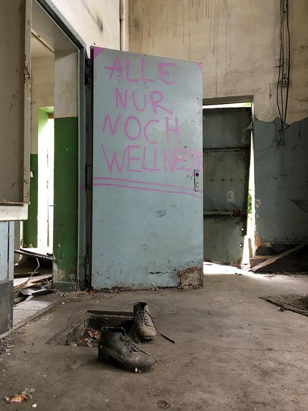 Alle nur noch Wellness, sagt ein pinkfarbenes Grafitto auf einer graublauen Metalltür in der ehemaligen Maschinenhalle der Landesirrenanstalt Teupitz, Brandenburg, südlich von Berlin - Lost Places