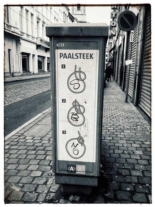 Stromkasten in Antwerpen mit Illustration eines Palsteks
